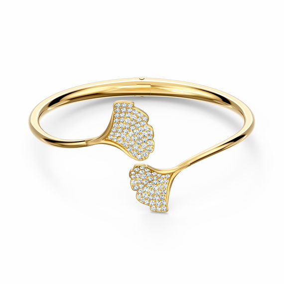 Stunning Ginko Bangle, White, Gold-tone plated