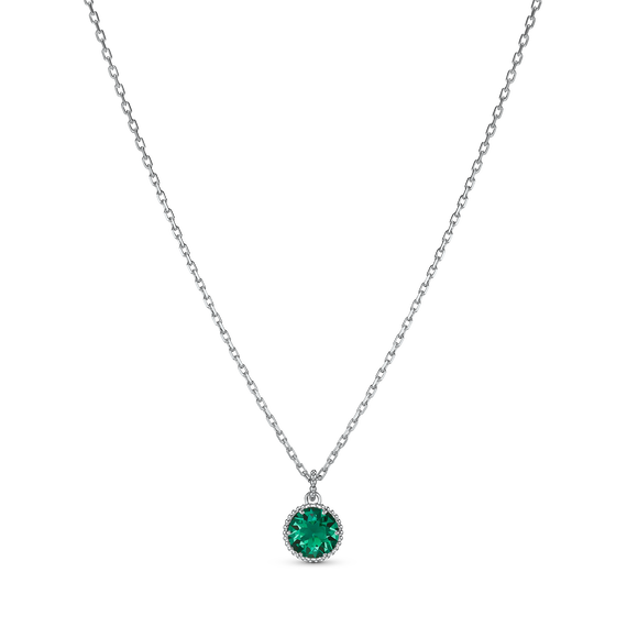 Birthstone Pendant, May, Green, Rhodium plated