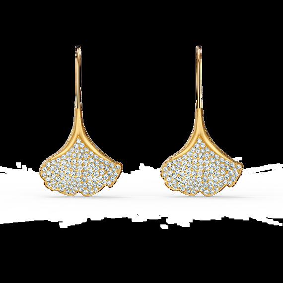 Stunning Ginko Pierced Earrings, White, Gold-tone plated