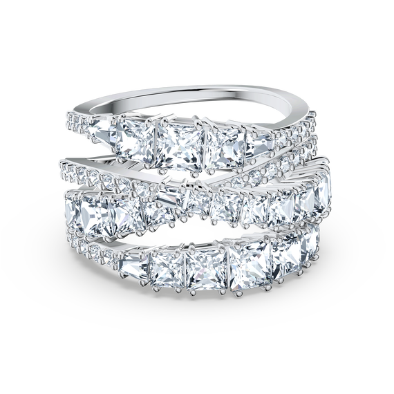 Twist Wrap Ring, White, Rhodium plated