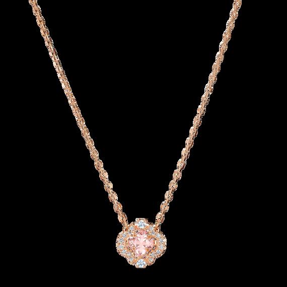 Swarovski Sparkling Dance Necklace, Pink, Rose-gold tone plated