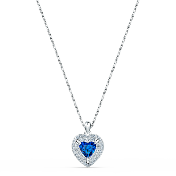 One Pendant, Blue, Rhodium plated