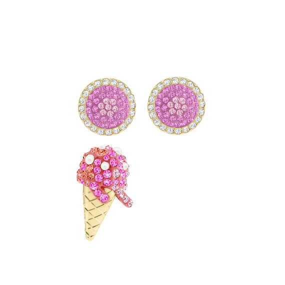 No Regrets Ice Cream Pierced Earrings, Multi-colored, Gold plating