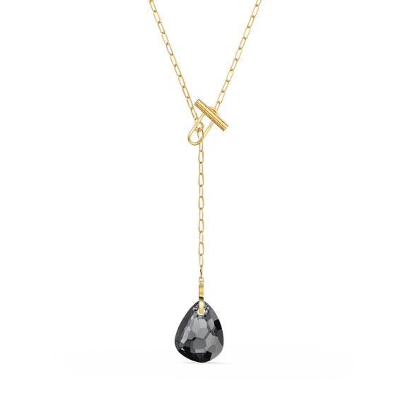 T Bar Y Necklace, Grey, Gold-tone plated