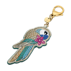 Tropical Parrot Bag Charm, Dark multi-colored, Gold-tone plated