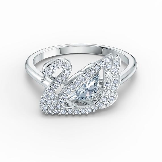Dancing Swan Ring, White, Rhodium plated