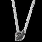 Iconic Swan Pendant, Black, Rhodium Plated