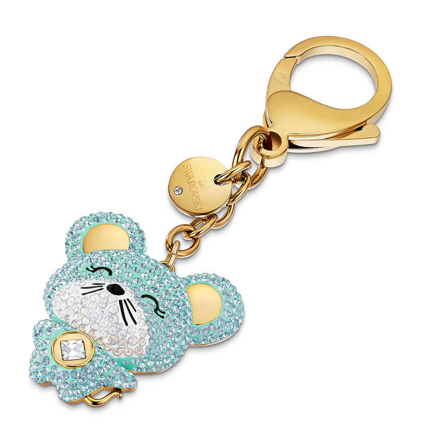 Zodiac Bag charm, Light multi-colored, Gold-tone plated