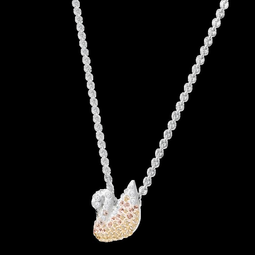 Iconic Swan Pendant, Small, Multi-Coloured, Rhodium Plated