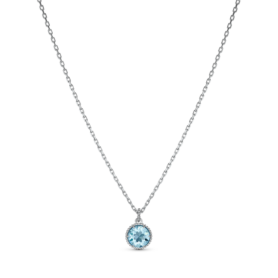 Birthstone Pendant, March, Aqua, Rhodium plated