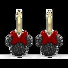 Minnie Hoop Pierced Earrings, Black, Gold-tone plated