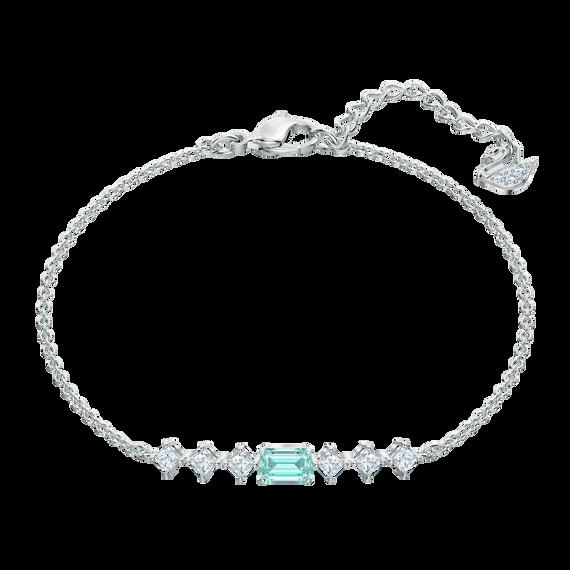 Attract Rectangular Bracelet, Green, Rhodium plated