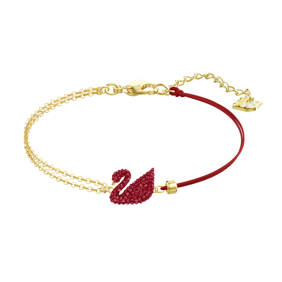 Iconic Swan Bracelet, Red, Gold plating