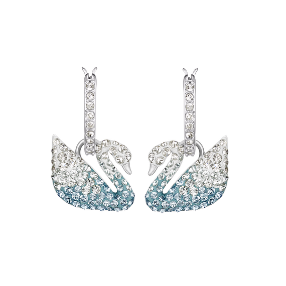 Iconic Swan Pierced Earrings, Multi-colored, Rhodium plated