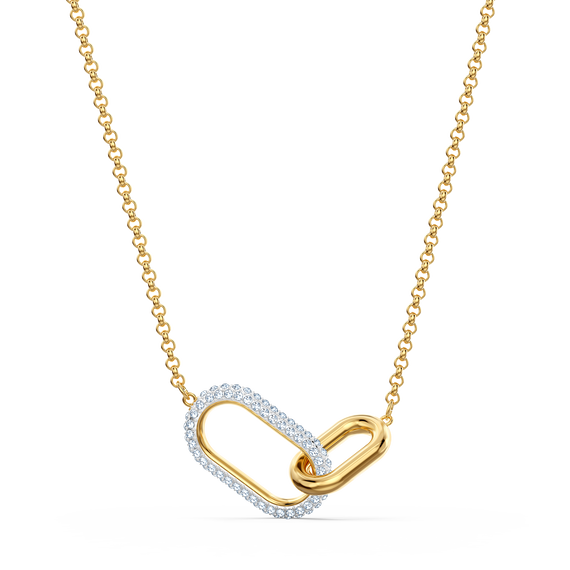Time Necklace, Short, White, Mixed metal finish
