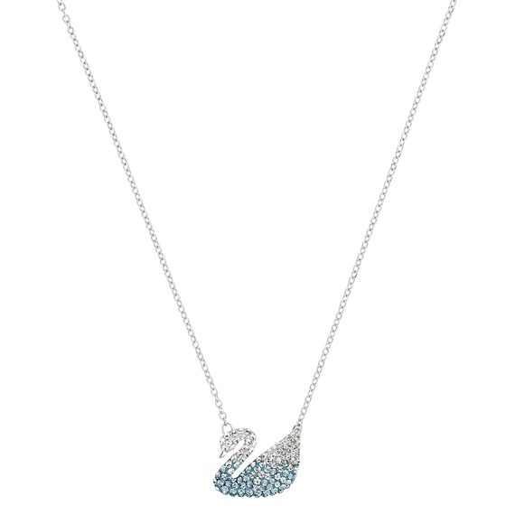 Iconic Swan Pendant, Multi-colored, Rhodium plated