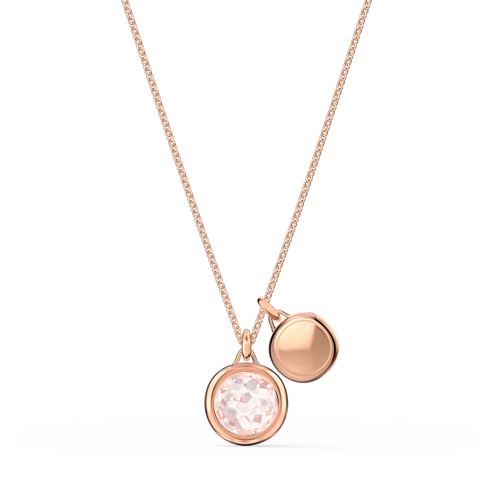 Tahlia Doble Pendant, Pink, Rose-gold tone plated