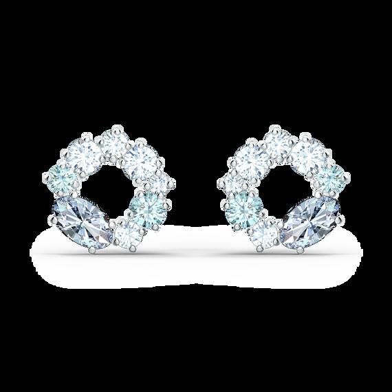Attract Circle Stud Pierced Earrings, Rhodium plated