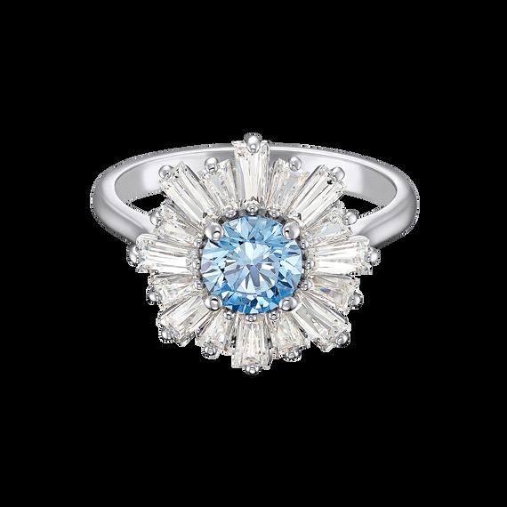 Sunshine Ring, Blue, Rhodium plated