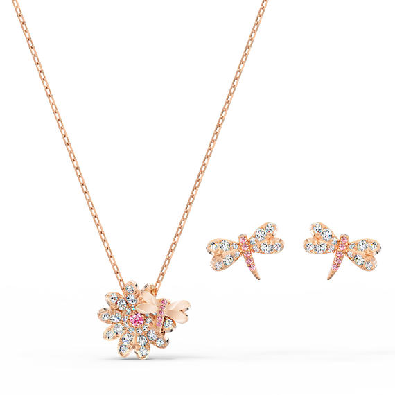 Eternal Flower Dragonfly Set, Pink, Rose-gold tone plated