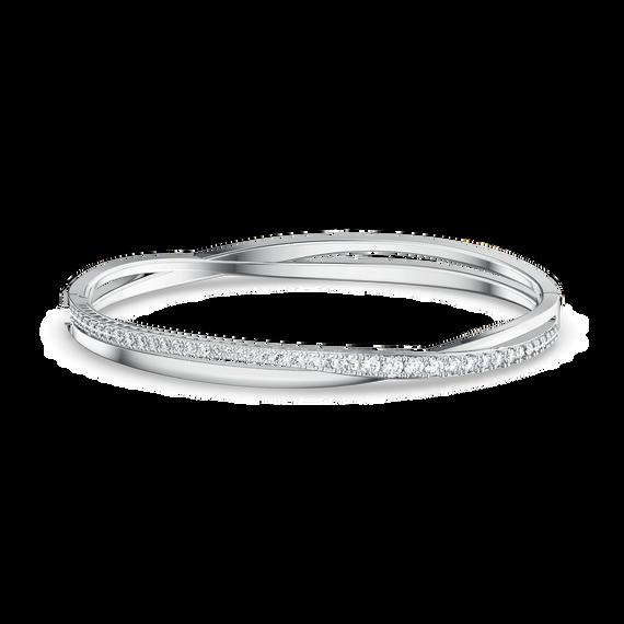 Twist Rows Bracelet, White, Rhodium plated