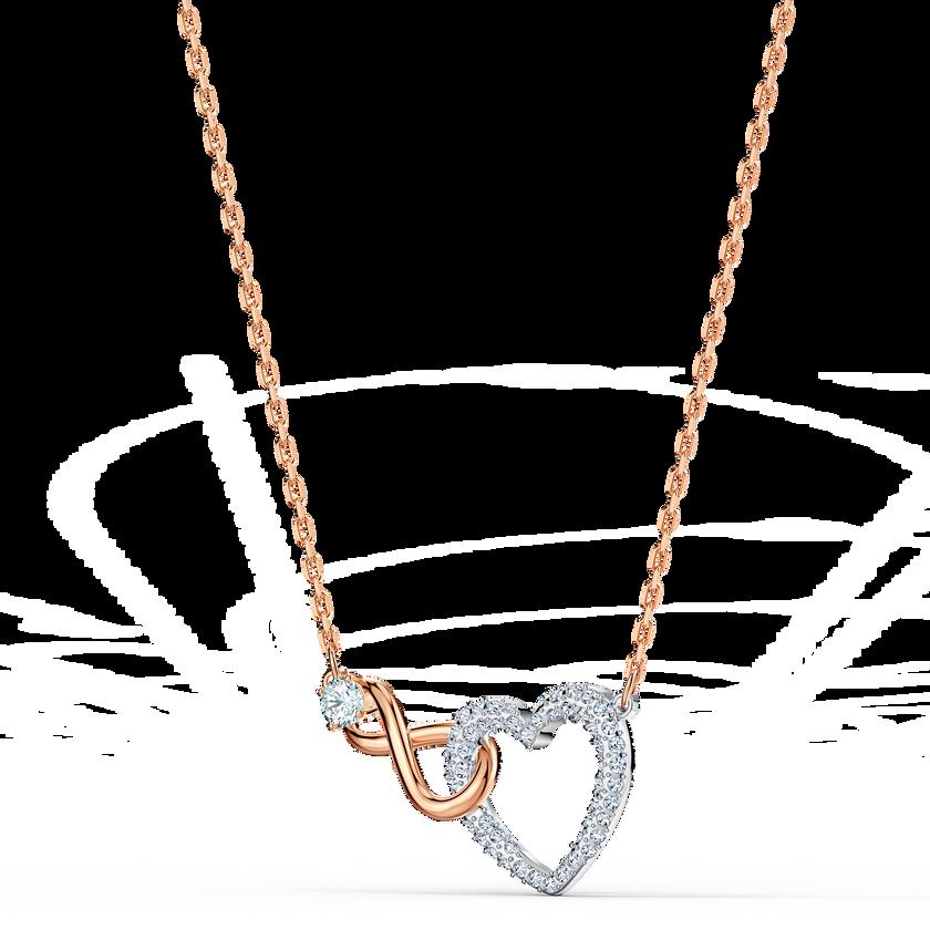 Swarovski Infinity Heart Necklace, White, Mixed metal finishing