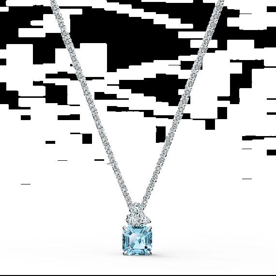 Sparkling Pendant, Aqua, Rhodium plated