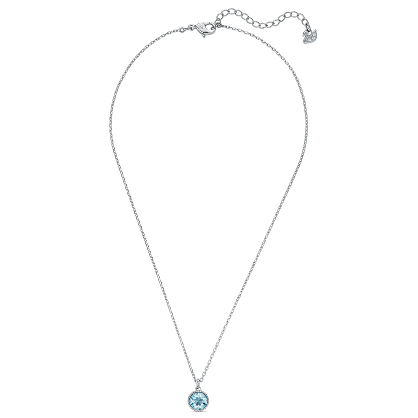 Birthstone Pendant, March, Aqua, Rhodium plated