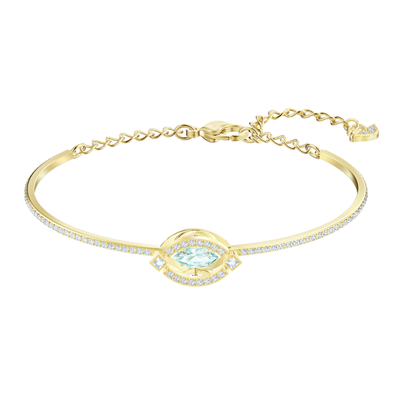 Sparkling Dance Bangle, Green, Gold-tone plated