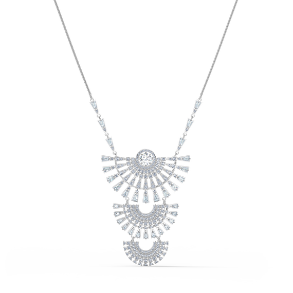 Swarovski Sparkling Dance Dial Up Necklace, Large, White, Rhodium plated