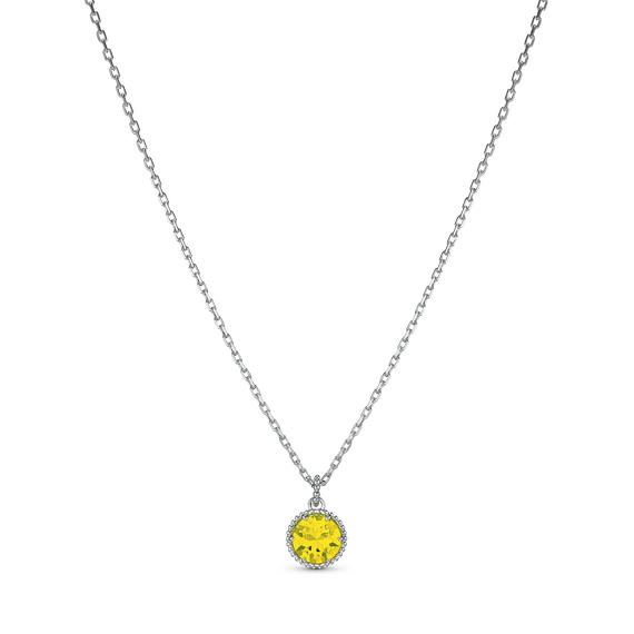 Birthstone Pendant, November, Yellow, Rhodium plated