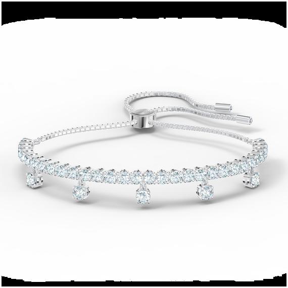Subtle Drops Bracelet, White, Rhodium plated