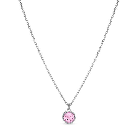 Birthstone Pendant, October, Pink, Rhodium plated