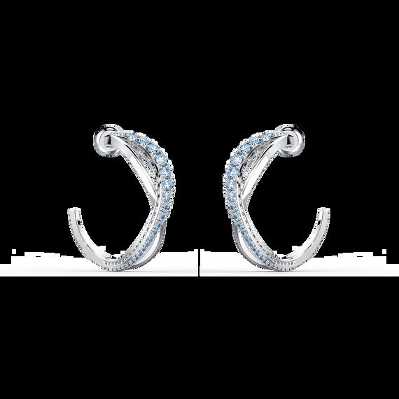 Twist Hoop Pierced Earrings, Blue, Rhodium plated