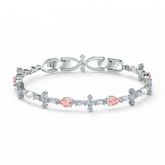 Perfection Bracelet, Pink, Rhodium plated
