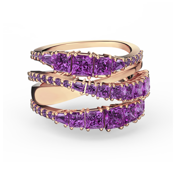 Twist Wrap Ring, Purple, Rose-gold tone plated