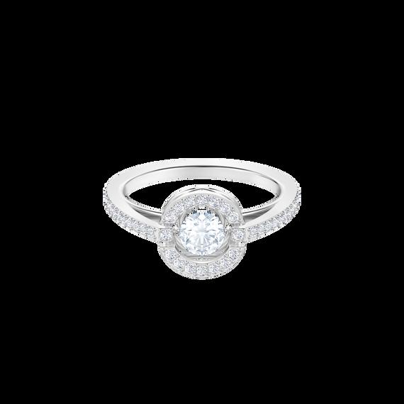 Sparkling Dance Round Ring, White, Rhodium plating