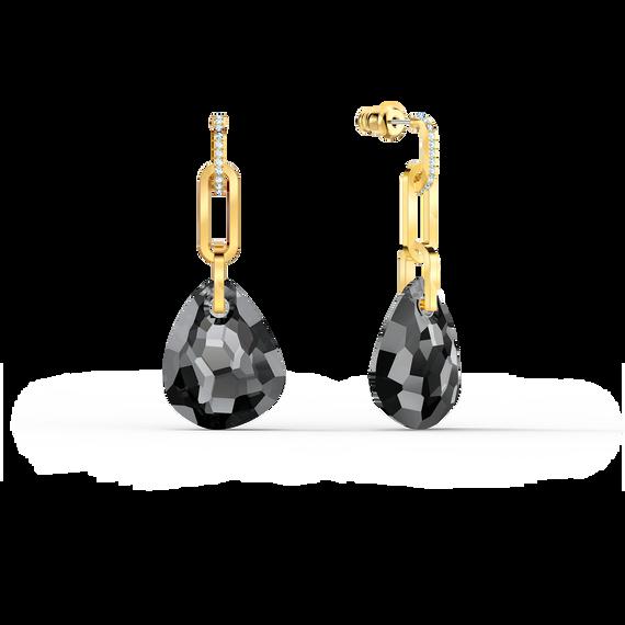 T Bar Pierced Earrings, Medium, Grey, Gold-tone plated