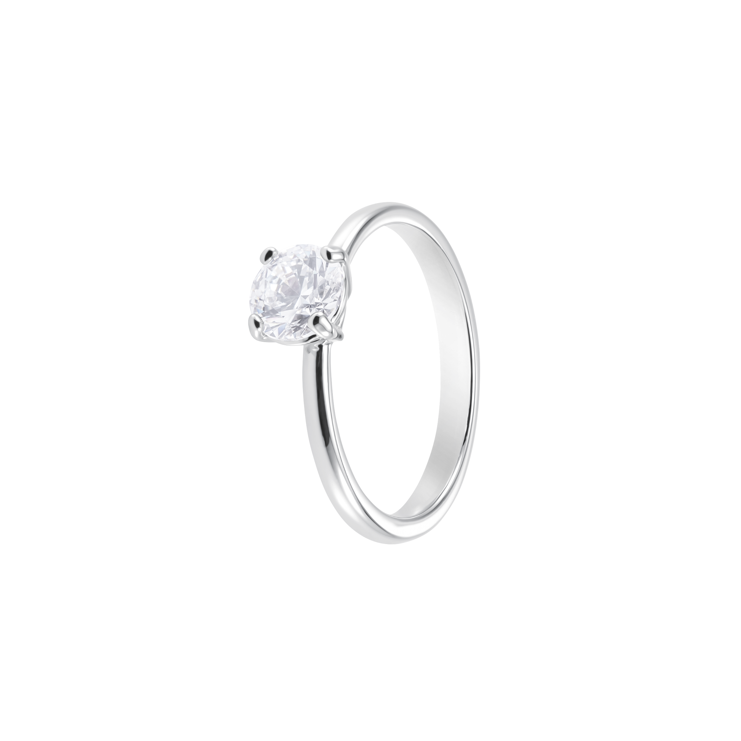 Attract Round Ring, White, Rhodium Plating