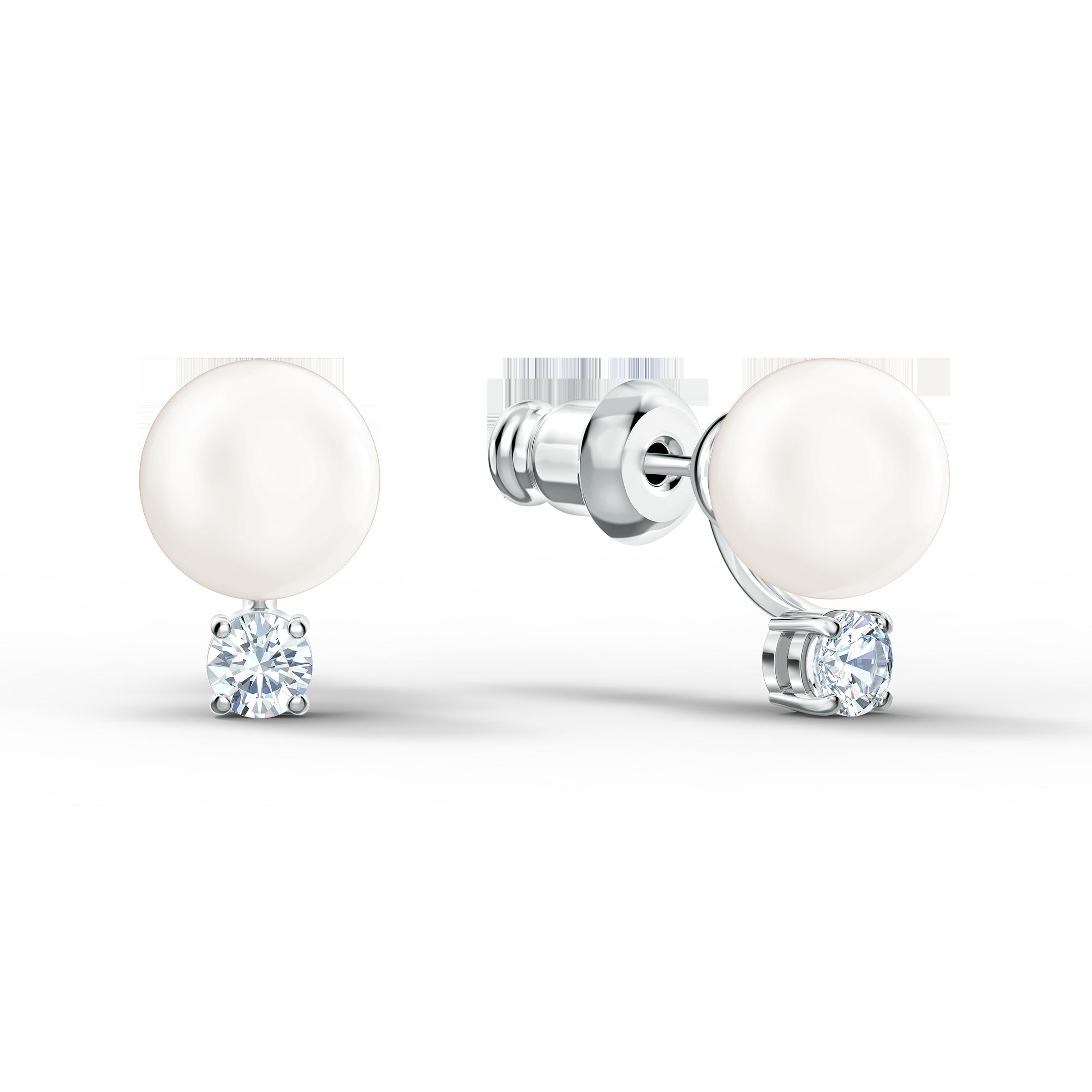 Treasure Pearl Set, White, Rhodium plated